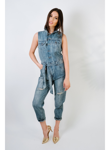 Jeans Sleeveless Denim Utility Suit