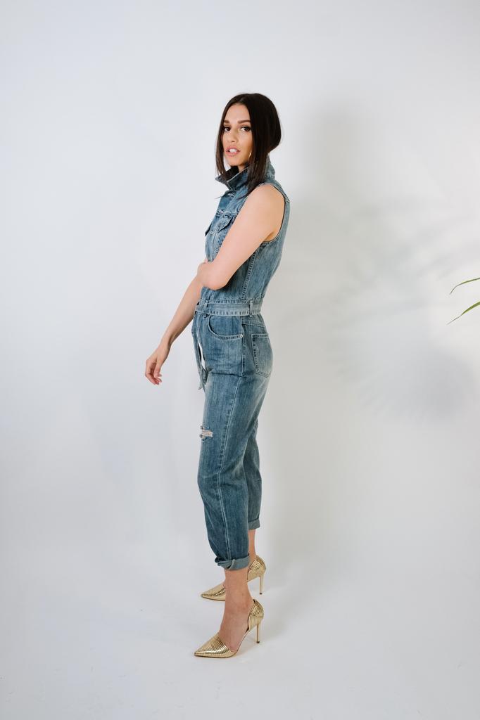 Jeans Sleeveless Denim Utility Suit