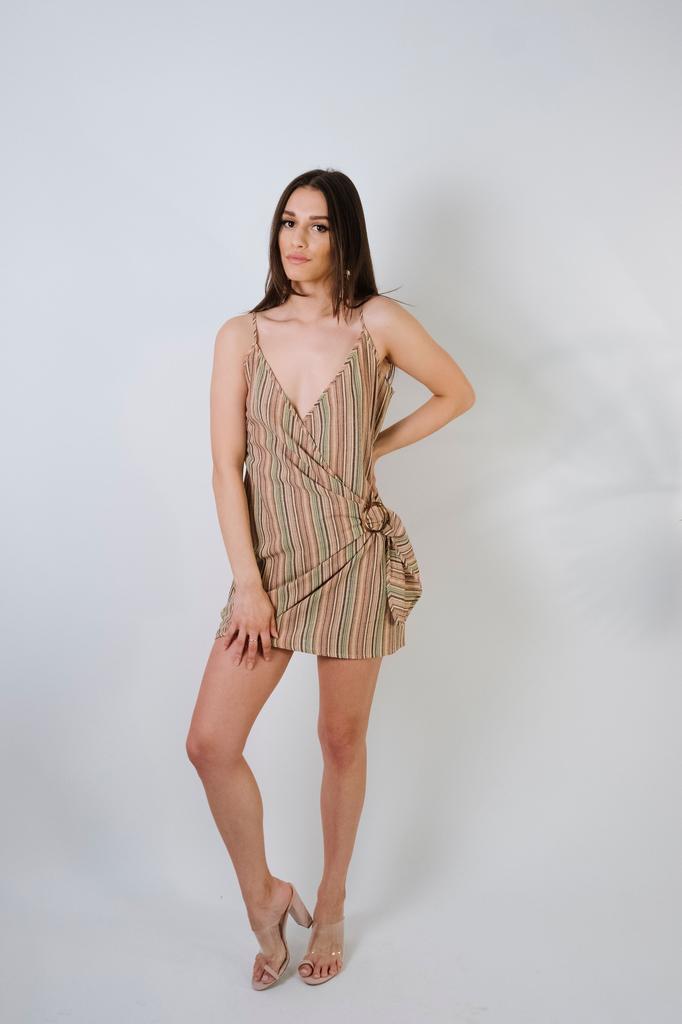 Mini Rainbow Striped Wrap Dress