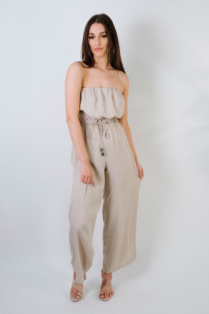 8c12c108c63 Stone Strapless Jumpsuit - Bobbles and Lace