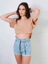 Shorts Belted Denim Shorts