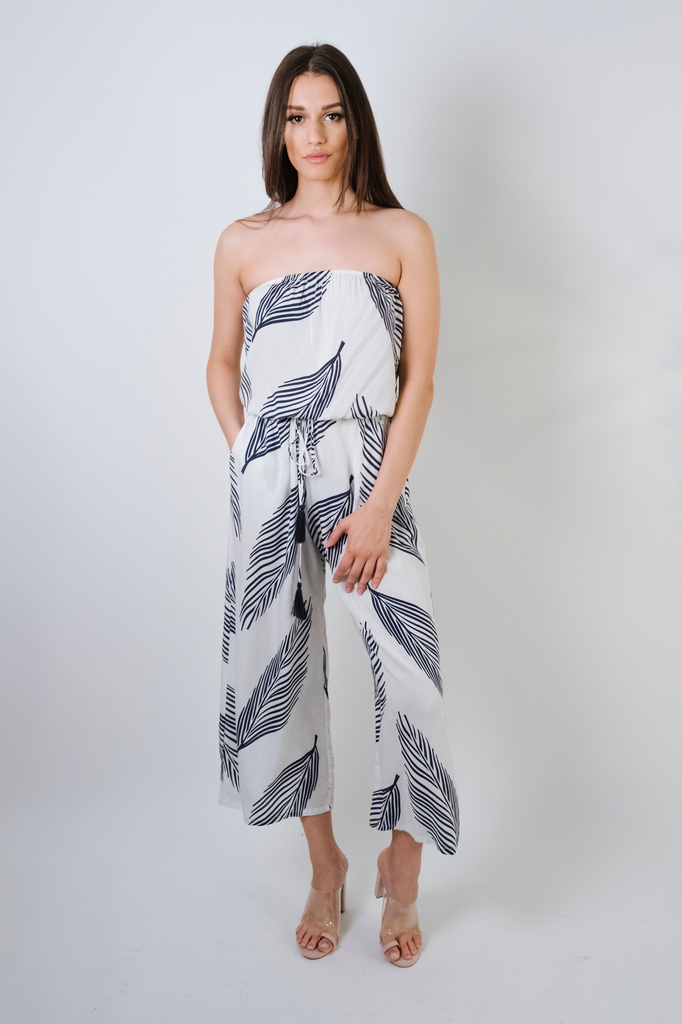Casual Strapless Palm Jumpsuit