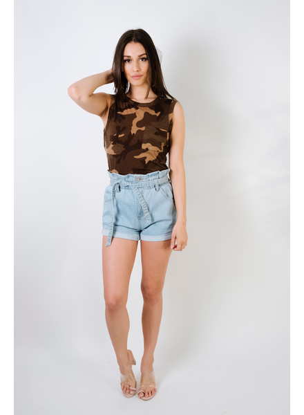 Crop Twist Back Camo Tee