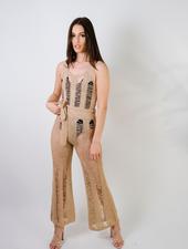 Jumpsuit Knit Shredded Jumpsuit