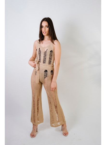 Jumpsuit Knit Shredded Jumpsuit
