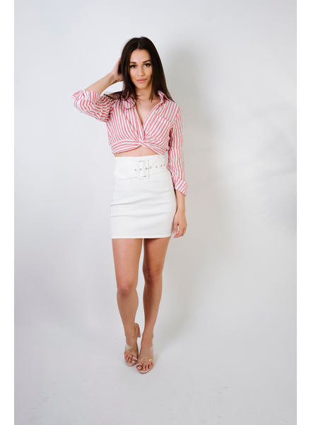 Skirt White Denim Belted Mini