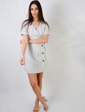 Mini Striped Wrap Dress