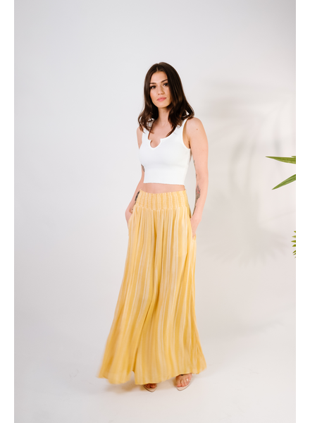 Pants Mustard Striped Wide Leg Pant