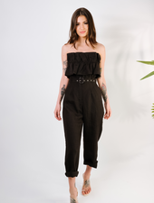 Pants Black Linen Paperbag Pant