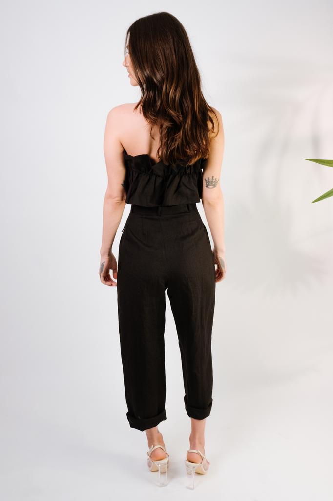 Pants Black Linen Paperbag Pant