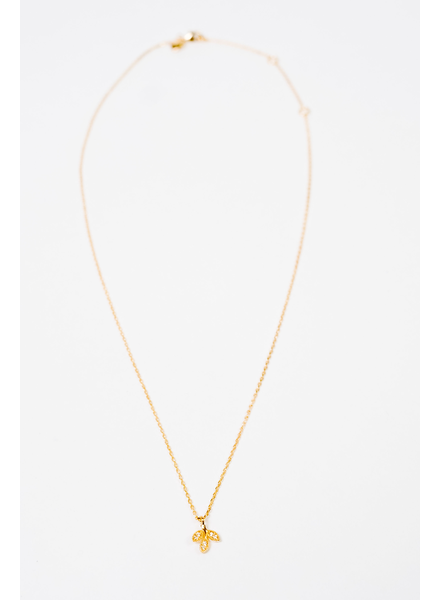 Dressy Gold Leaf Charm Necklace