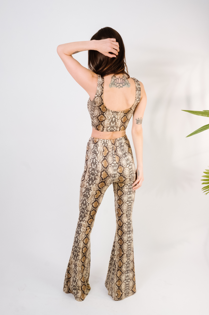 Pants Brown Snakeskin Flare Pants