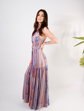 Maxi Multi-Color Belted Maxi Dress