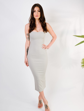 Midi Sage Knit Ribbed Midi