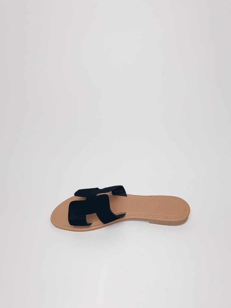 Sandal Black Perforated Slide