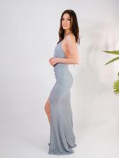 Maxi Seafoam Knit Split Dress