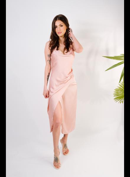 Midi Dusty Pink Wrap Dress