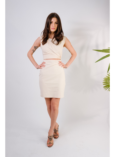 Mini Cream Cutout Mini Dress
