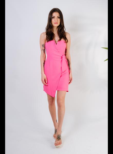 Dressy Bright Pink Strapless Wrap Dress
