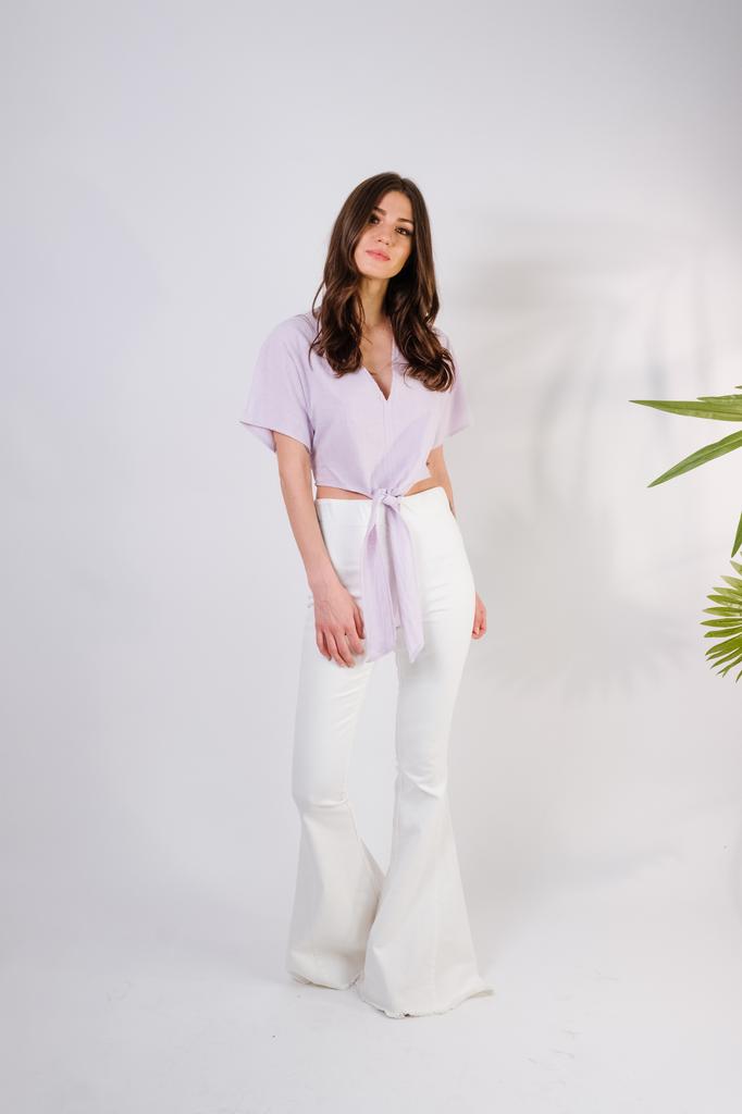 T-shirt Lavender Tie-Front Top
