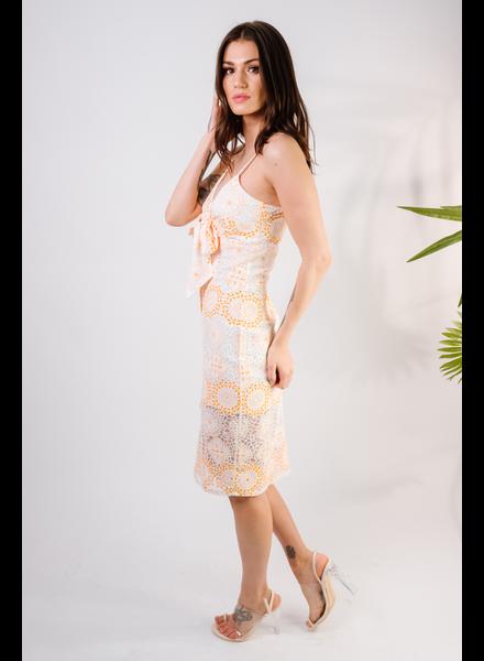 Lace White & Orange Lace Tie Front Dress