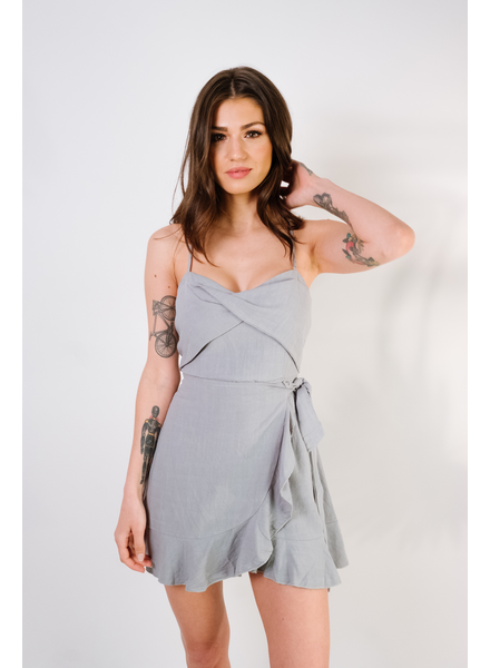 Mini Sage Wrap Front Ruffle Hem Dress