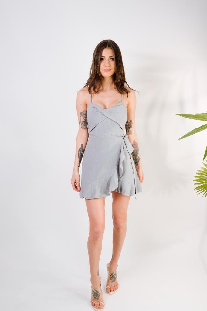 Mini Sage Wrap Front Ruffle Hem Dress