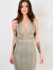 Mini Sage Ribboned Lace Dresss