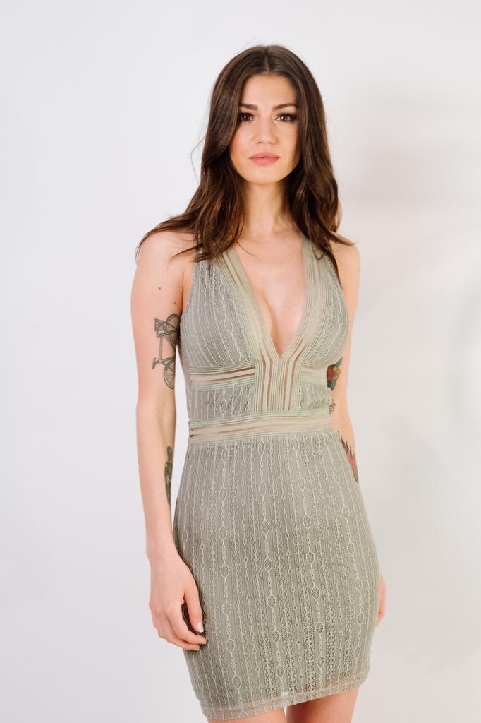 Mini Sage Ribboned Lace Dresss
