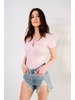 Bodysuit Pink Ribbed Short Sleeve Bodysuit