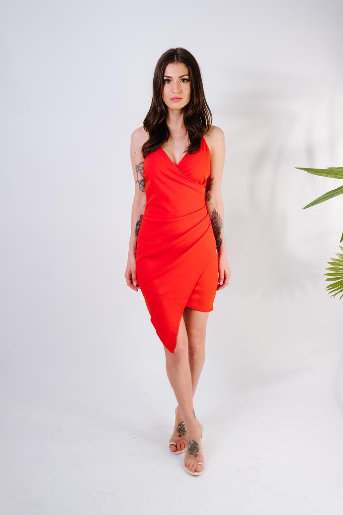 Mini Lipstick Wrap Dress
