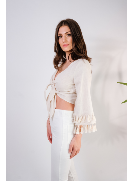 Crop Linen Tassel Top