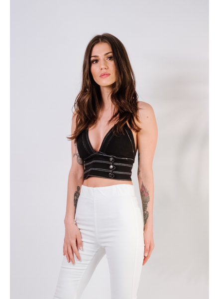 Crop Balck Denim Halter Crop