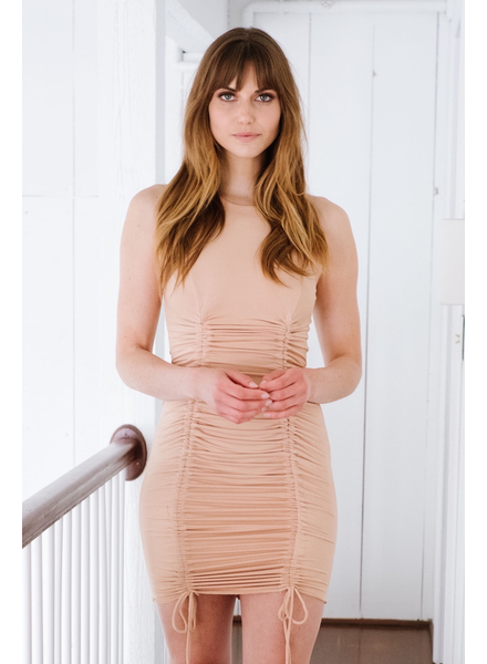 Mini Nude Ruched Mini Dress