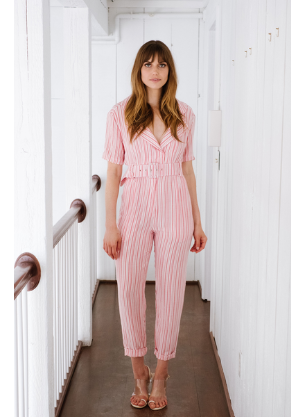 Jumpsuit Red Stripe Belted Jumpsuit
