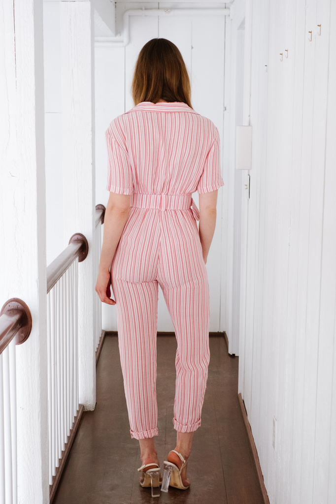 Jumpsuit Red Stripe Belted Jumpsuit