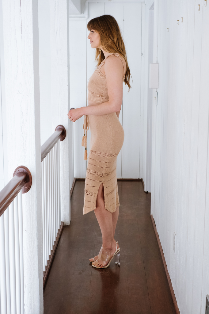 Skirt High Waist Knit Midi Skirt