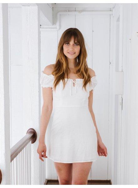 Mini OTS Linen Mini Dress