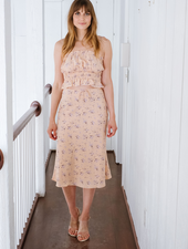 Skirt Blush Floral Printed Midi Skirt