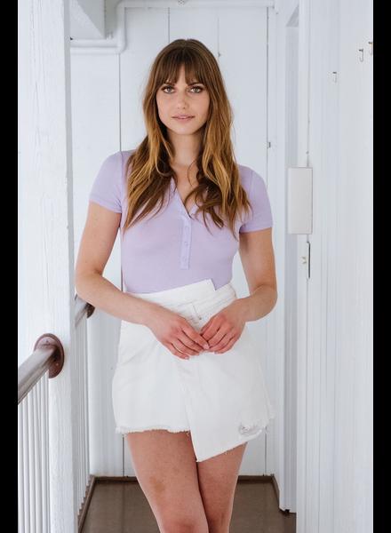 Bodysuit Lavender Ribbed Short Sleeve Bodysuit