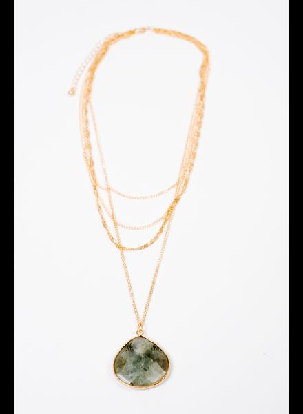 Accessories Multi Chain Stone Necklace