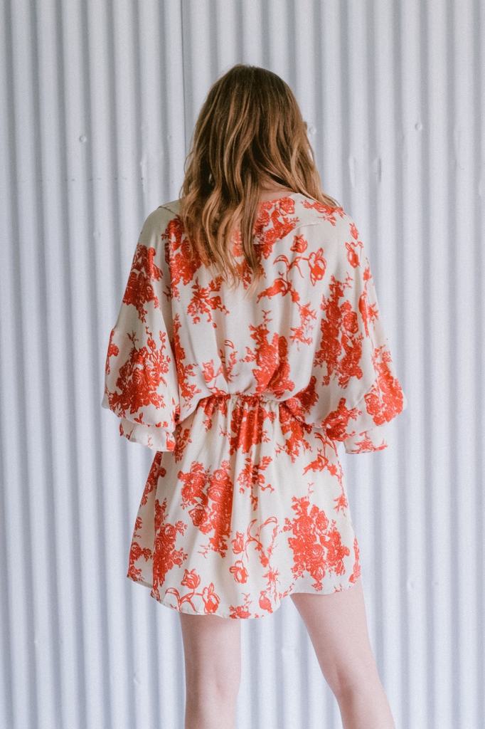 Mini Ruffled Brocade Dress