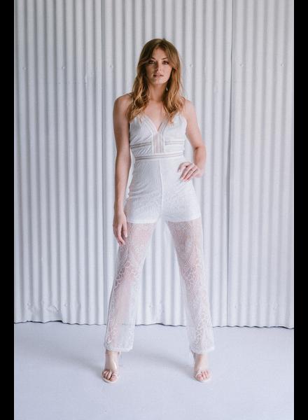 Dressy White Lace Jumpsuit