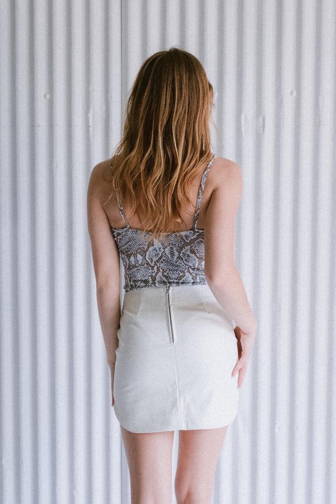Skirt White Leather Mini