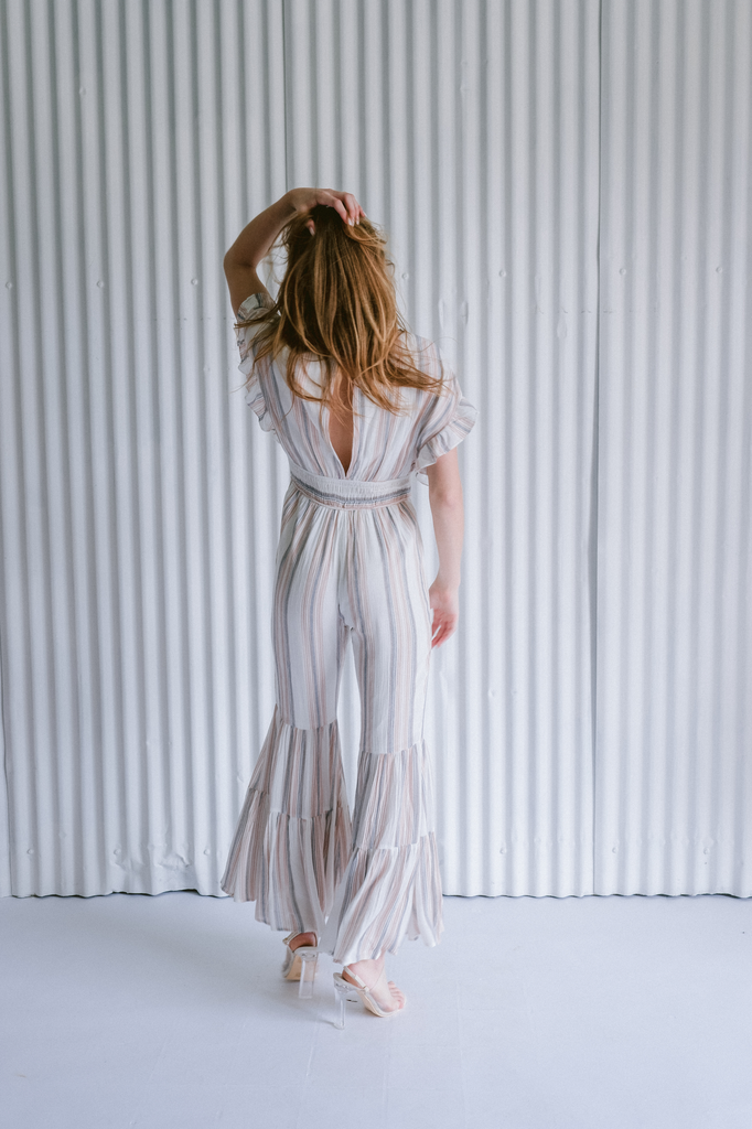 Dressy Striped Flare Leg Jumpsuit