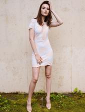 Lace Mesh Front Lace Dress