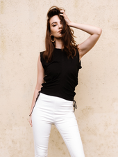 T-shirt Black Rouched Tee