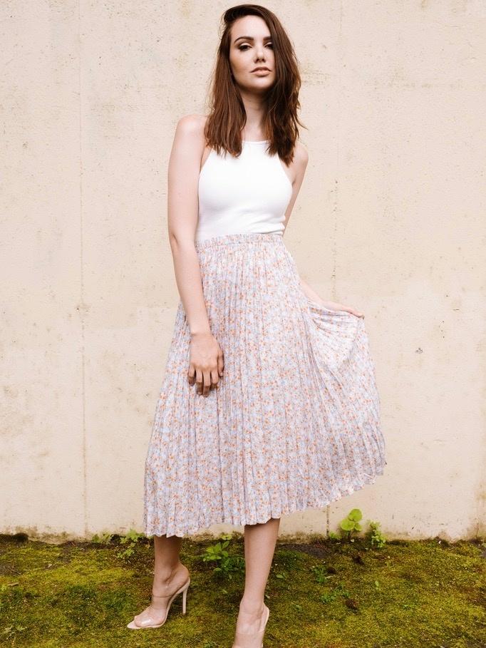 Skirt Pleated Floral Skirt