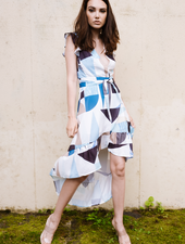 Midi Abstract High Low Dress