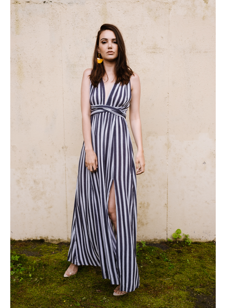 Maxi Navy Striped Halter Maxi